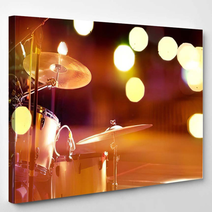 Live Music Background On Stage Concert - Drum Music Canvas Art Print