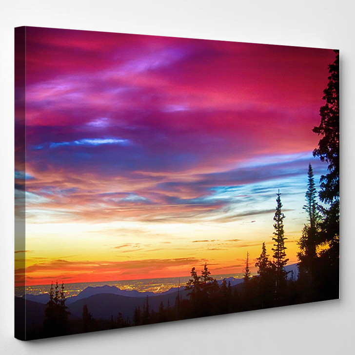 A Beautiful Colorful Epic Sunrise Over The City Lights Of Boulder Colorado - Nature Canvas Art Print