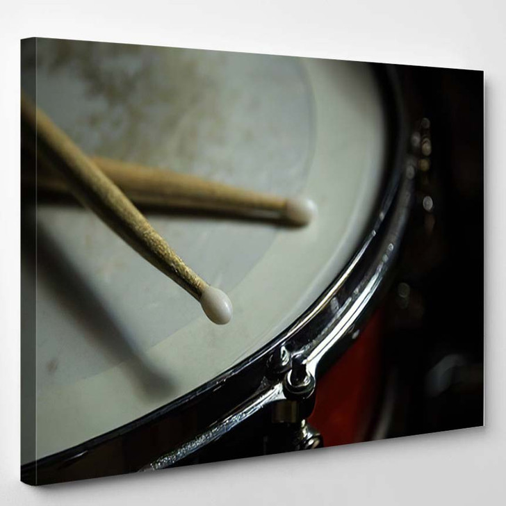Percusions Drums Drumsticks On Close - Drum Music Canvas Art Print