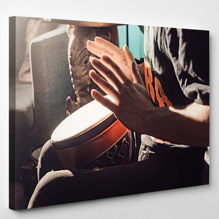 Playing Drum Hands Another View African - Drum Music Canvas Art Print
