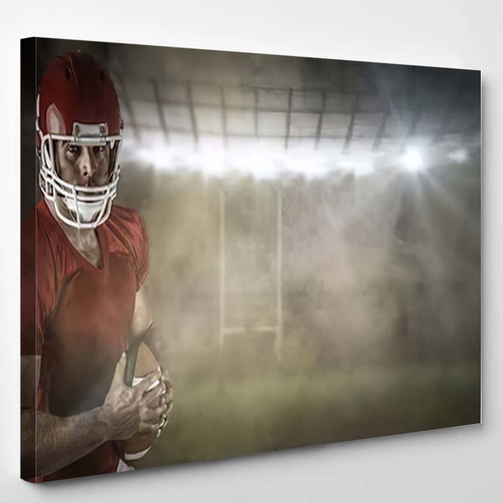 3D American Football Player Holding Ball - Football Canvas Art Print