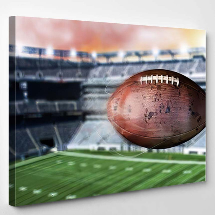 3D Illustration Flying American Football Leaving - Football Canvas Art Print