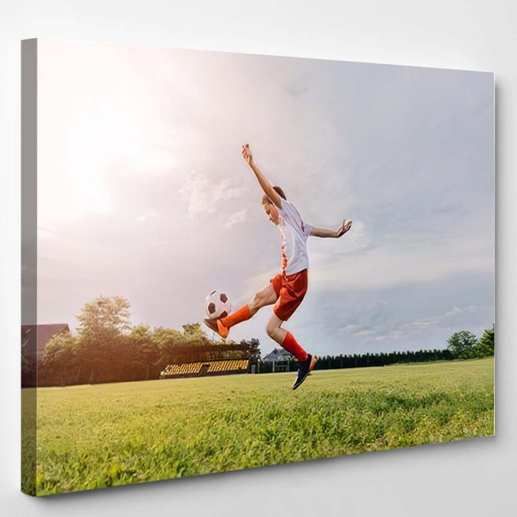 8 Years Old Boy Child Playing - Football Canvas Art Print