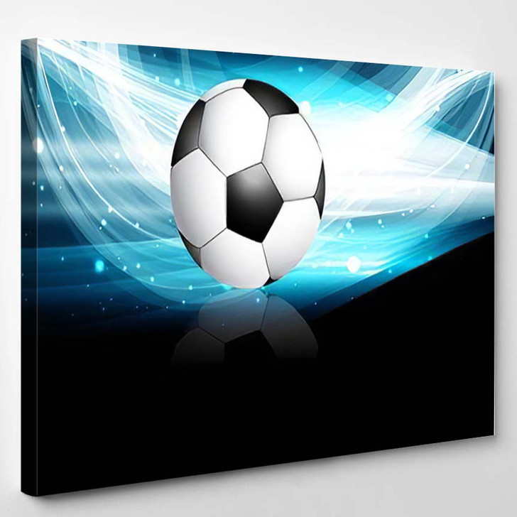 Abstract Football Bright Black Blue Colorful - Football Canvas Art Print