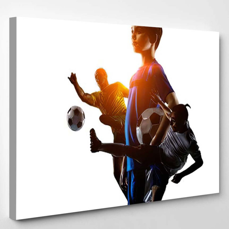 Abstract Soccer Theme Hottest Match Moments 1 - Football Canvas Art Print