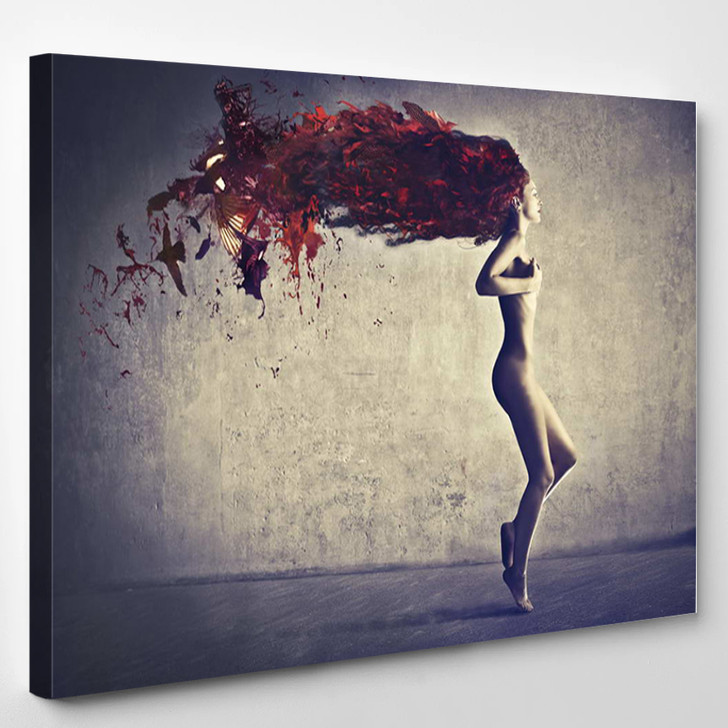 Beautiful Naked Young Woman With Her Hair Transforming In Bird Feathers - Abstrast Canvas Art Print