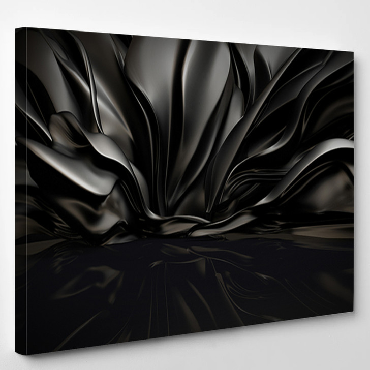 Beautiful Stylish Black Background With Developing Flying Cloth In A Room With A Reflection On The Floor - Abstrast Canvas Art Print