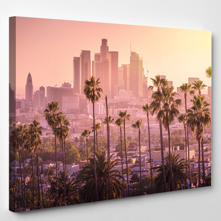 Beautiful Sunset Of Los Angeles Downtown Skyline And Palm Trees In Foreground - Landscape Canvas Art Print