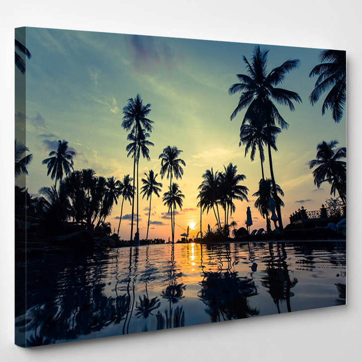 Beautiful Sunset On A Tropical Beach With Palm Trees Reflection In The Water - Nature Canvas Art Print