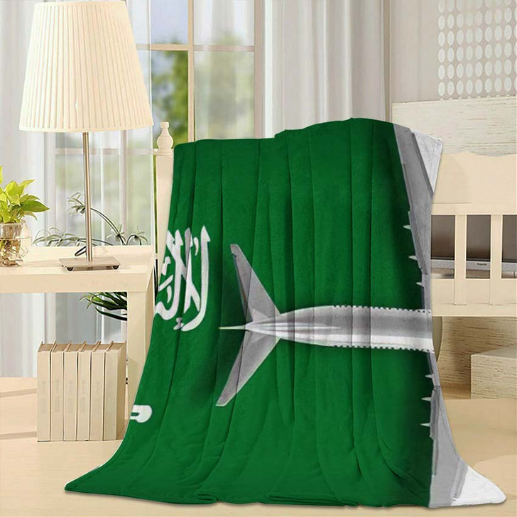 3D Flag Saudi Arabia Airplane Flying - Airplane Airport Throw Blanket