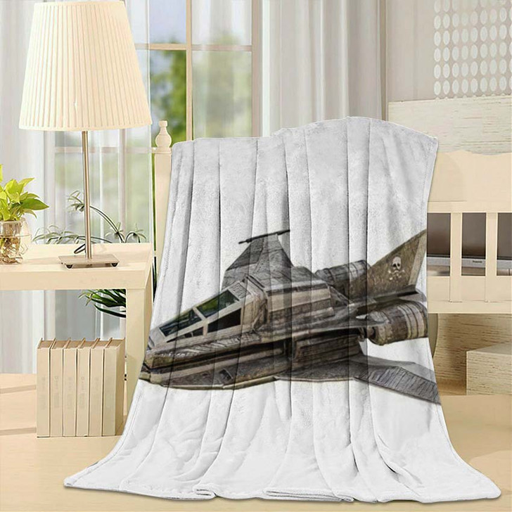 3D Illustration Spaceship Fighter Isolated On - Airplane Airport Throw Blanket
