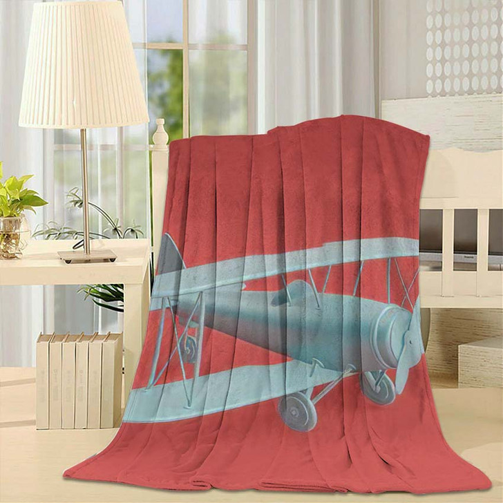 3D Render Illustration Retro Biplane Modern - Airplane Airport Throw Blanket