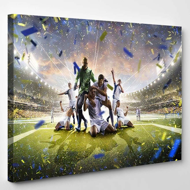 Collage Adult Soccer Players Action On 1 - Football Canvas Art Print