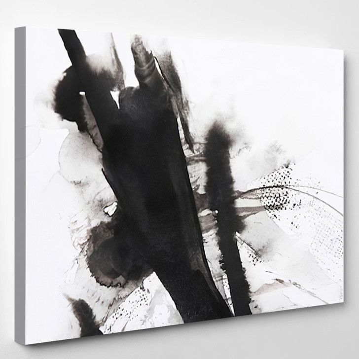 Black And White Abstract Brush Painting - Abstrast Canvas Art Print