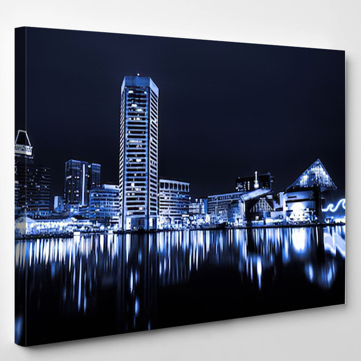 Black And White Image Of The Baltimore Inner Harbor Skyline At Night - Landscape Canvas Art Print