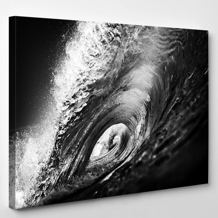 Black And White Wave - Nature Canvas Art Print