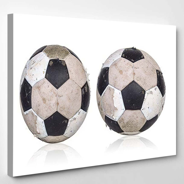 Old Soccer Ball On White Background - Football Canvas Art Print