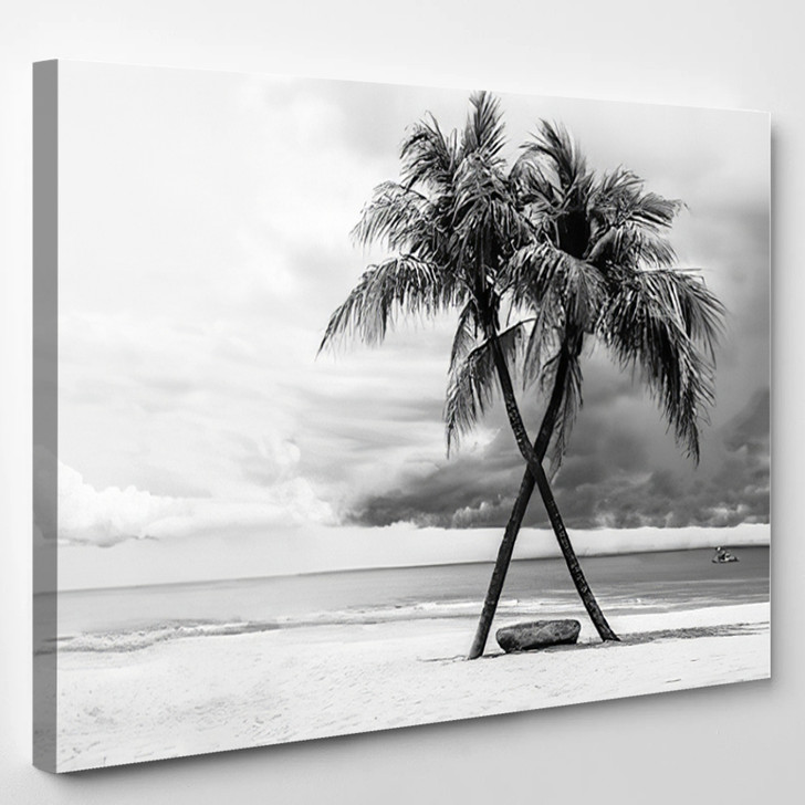 Black White View Of Beautiful Beach With Palms Thailand - Landscape Canvas Art Print