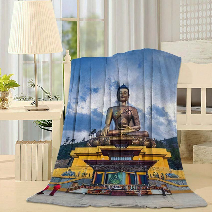 169 Feet Tall Bronze Buddha Statue - Buddha Religion Throw Blanket