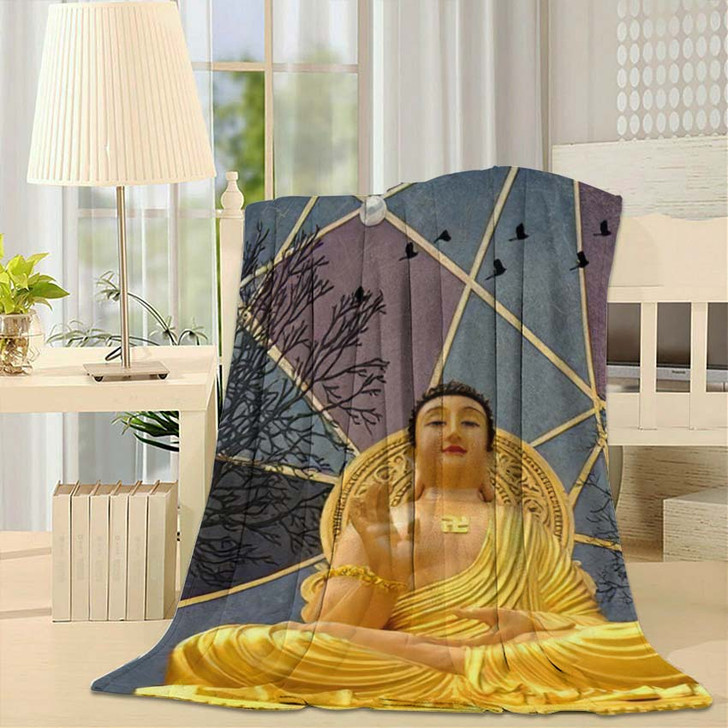 3D Buddha Wallpaper Texture Background Illustration - Buddha Religion Throw Blanket
