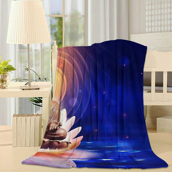 3D Illustration Buddha Sat Lotus Flower 2 - Buddha Religion Throw Blanket