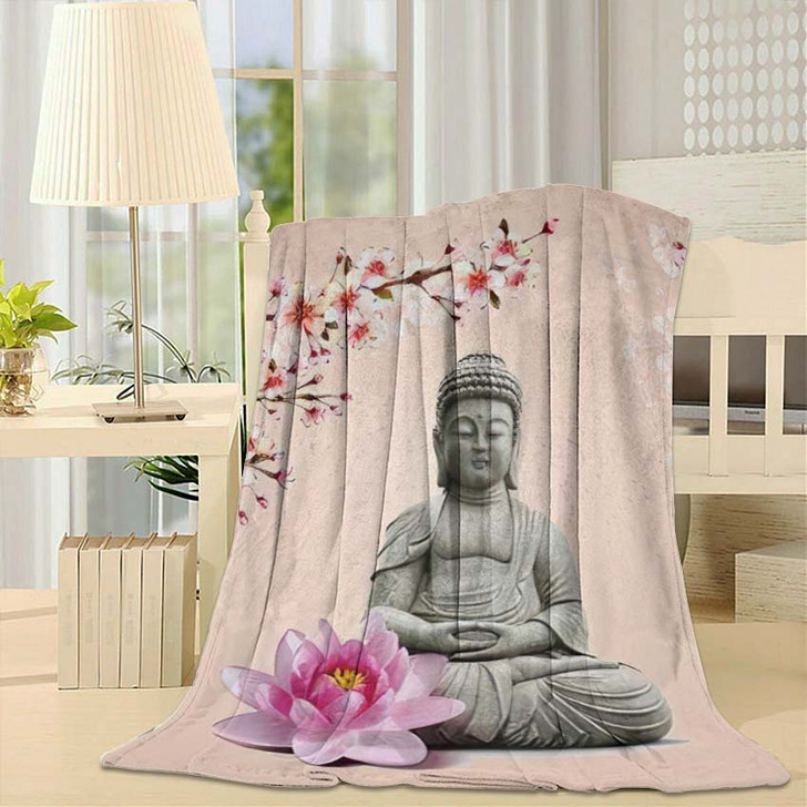 3D Illustration Buddha Wallpaper3D - Buddha Religion Throw Blanket