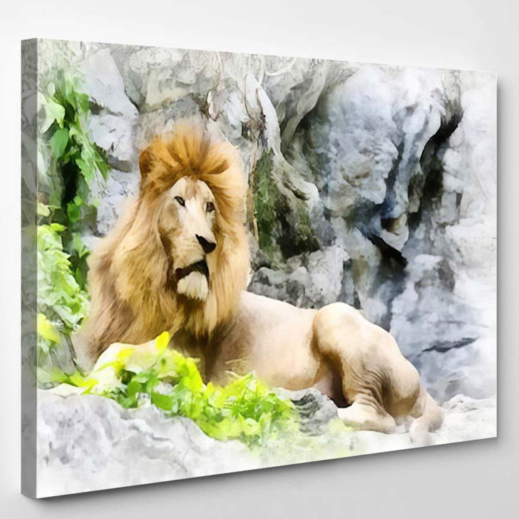 Abstract Lion Color Painting - Lion Animals Canvas Art Print