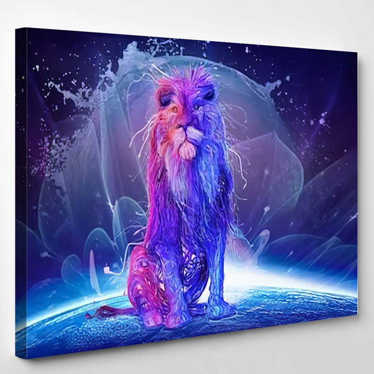 Abstract Multicolored Lion Sitting On Top - Lion Animals Canvas Art Print