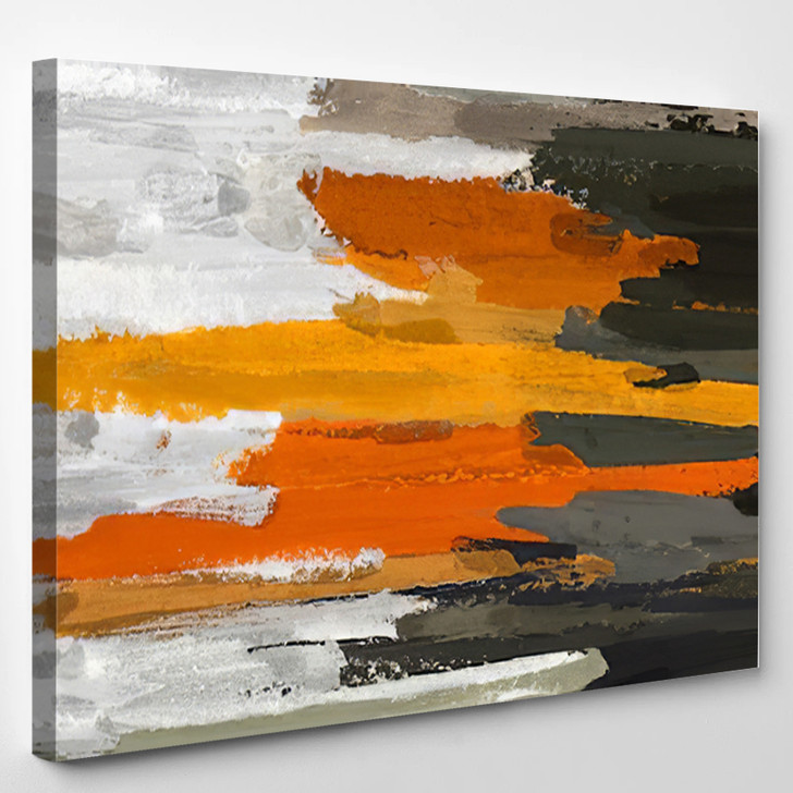 Brown Gray And Orange Abstract - Abstrast Canvas Art Print