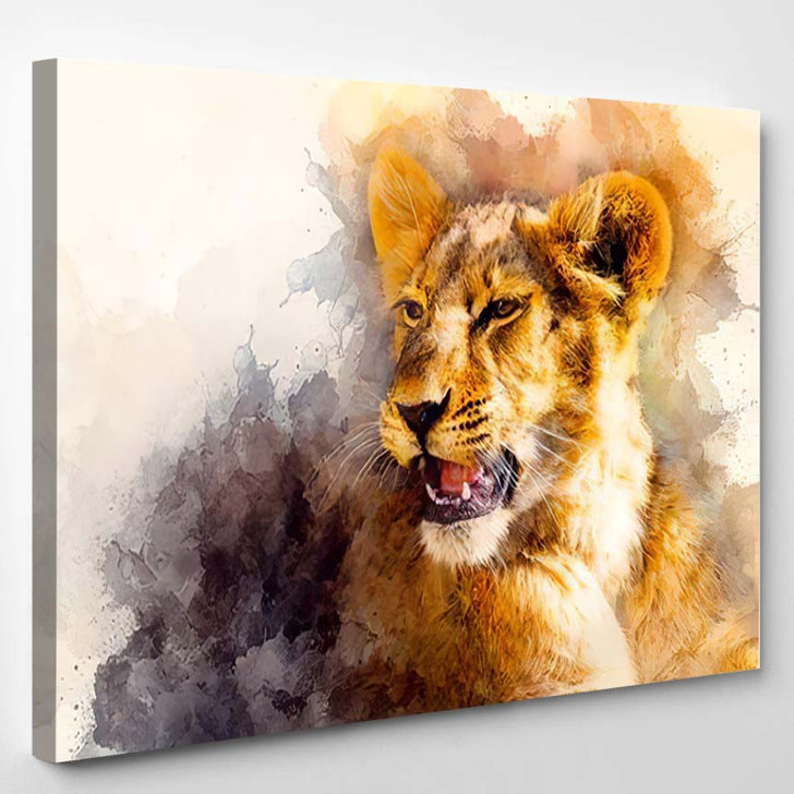Cute Lion Graphivc Effect Softly Blurred - Lion Animals Canvas Art Print