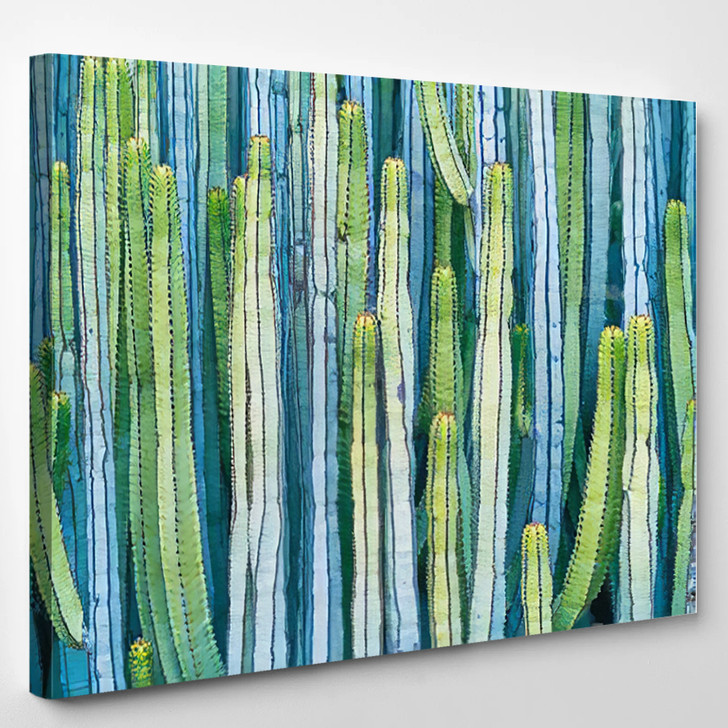 Cardon Cactus In Summer With Rich Blue Green And Torqouise Colors - Nature Canvas Art Print