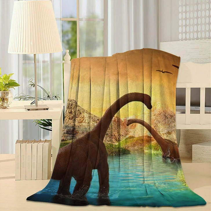 3D Fantasy Landscape Dinosaur Rendered Mountains - Dinosaur Animals Throw Blanket