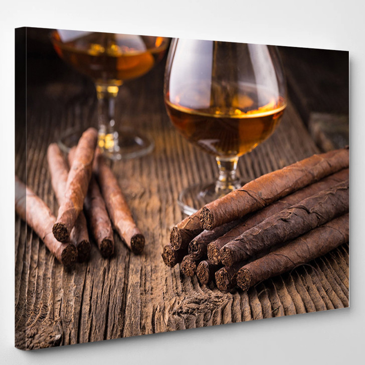 Cigar And Whiskey - Wine And Cigar Canvas Art Print