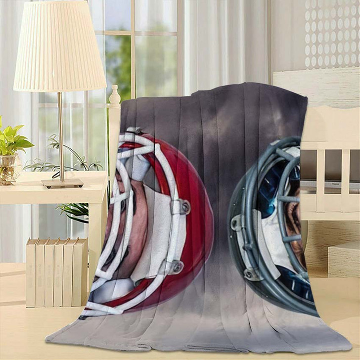 3D American Football Huddle Against Gloomy - Football Throw Blanket