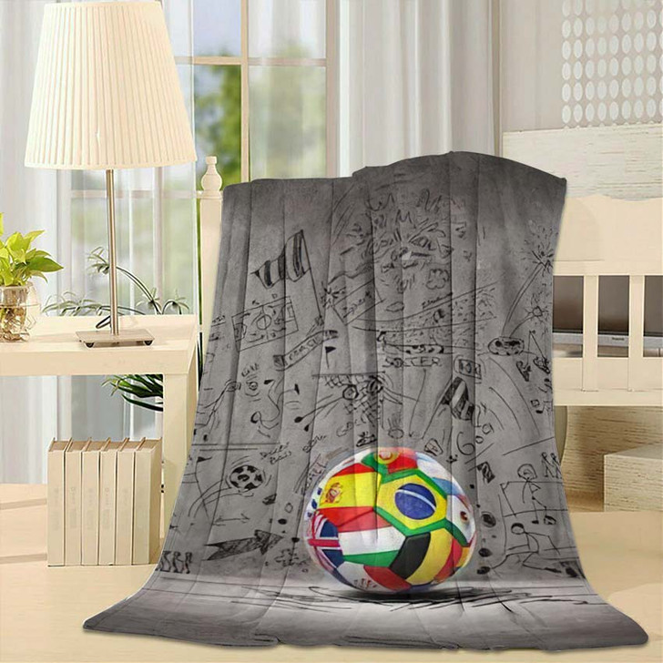 3D Football Soccer Ball Nations Teams - Football Throw Blanket