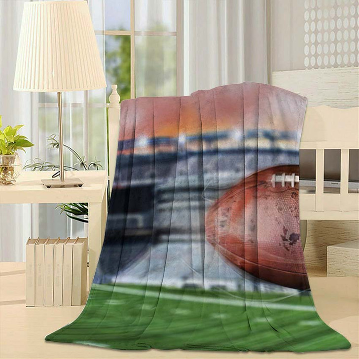 3D Illustration Flying American Football Leaving - Football Throw Blanket