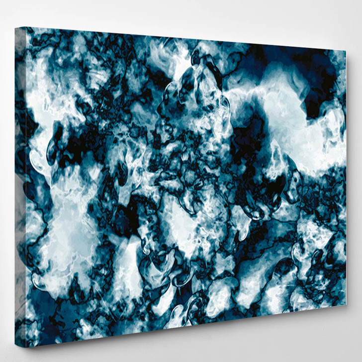 Dark Blue And White Abstract - Abstrast Canvas Art Print