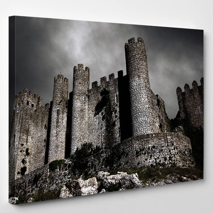 Disturbing Scene With Medieval Castle At Night With Stormy Sky - Landscape Canvas Art Print