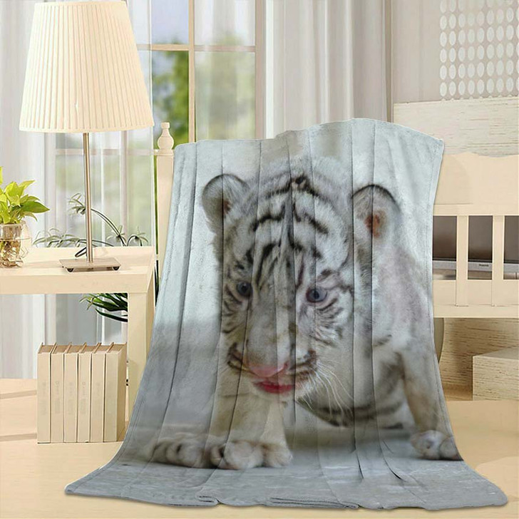 3 Week White Tiger - White Tiger Animals Throw Blanket