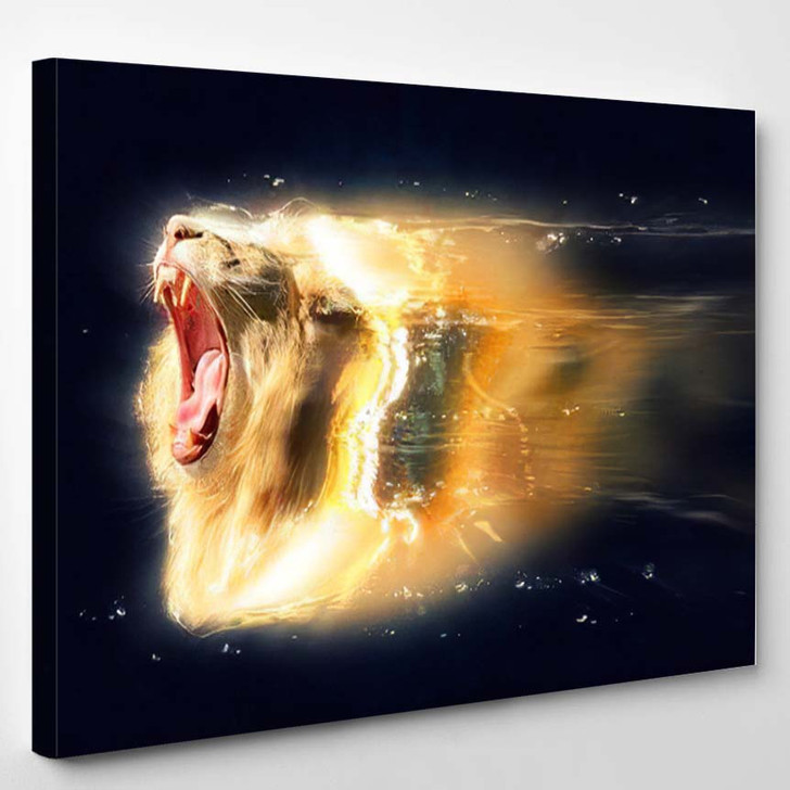 White Lion Open Jaws Abstract Animal - Lion Animals Canvas Art Print