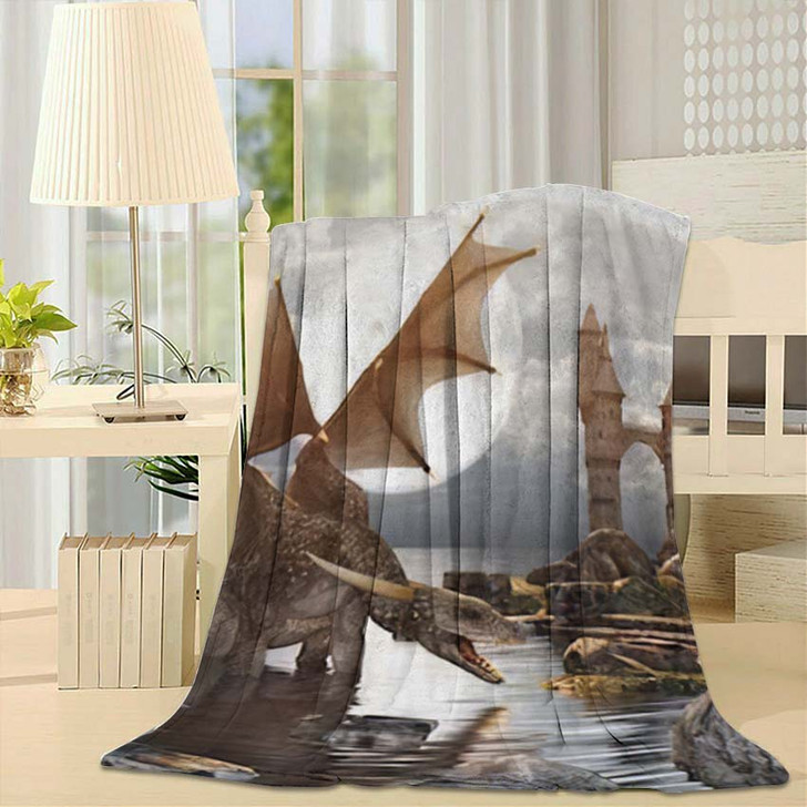 3D Fantasy Dragon Resting On Water - Dragon Animals Throw Blanket