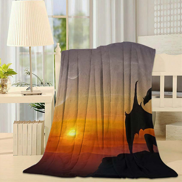 3D Illustration Black Dragon On Stone - Dragon Animals Throw Blanket