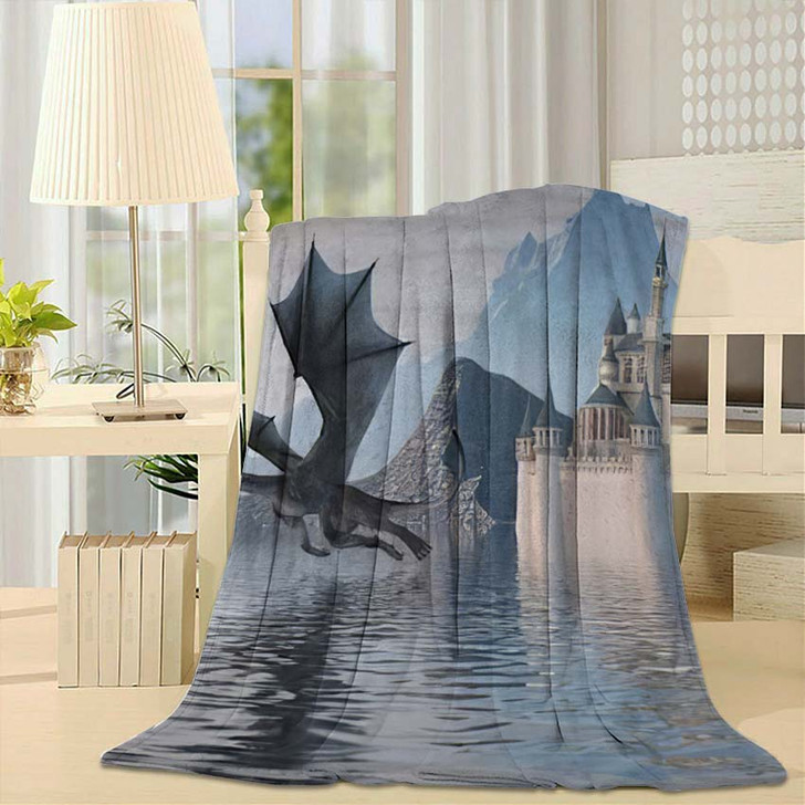 3D Illustration Castle On Water Dragon - Dragon Animals Throw Blanket