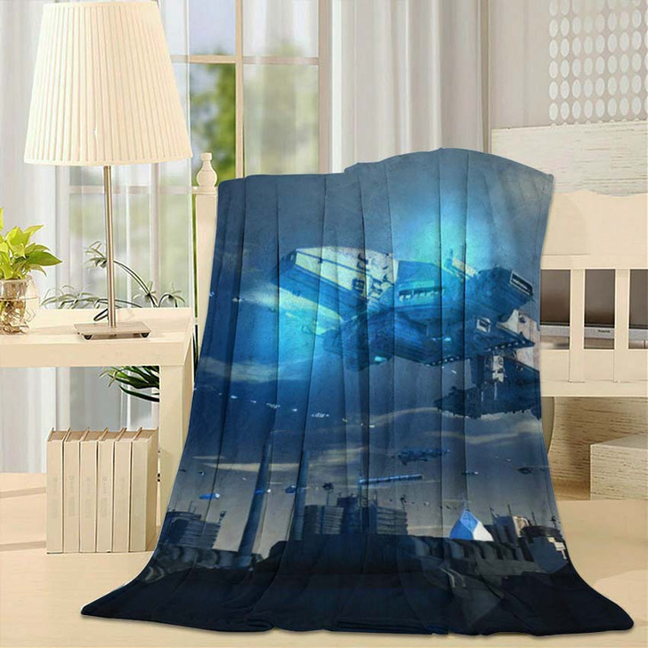 3D Render Futuristic Spaceship Ufo - Sky and Space Throw Blanket