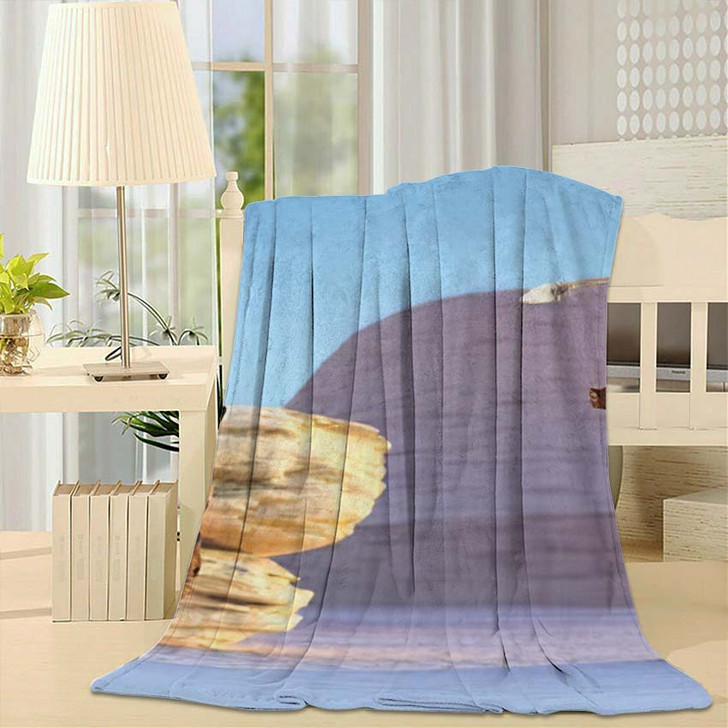 3D Illustration Fantasy Cave Girl Armed - Hunting and Fishing Throw Blanket