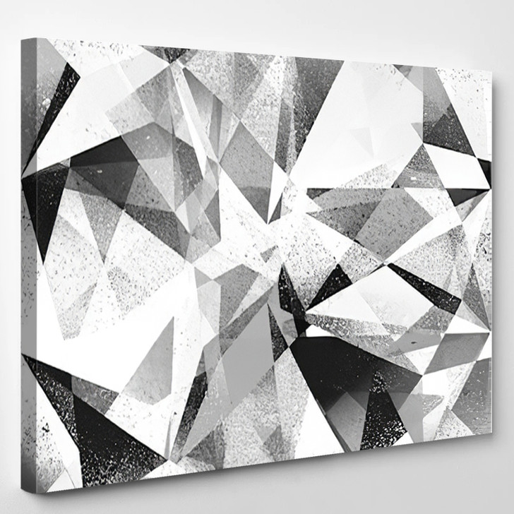 Grunge Geometric Black And White Abstract Background Illustration - Abstrast Canvas Art Print