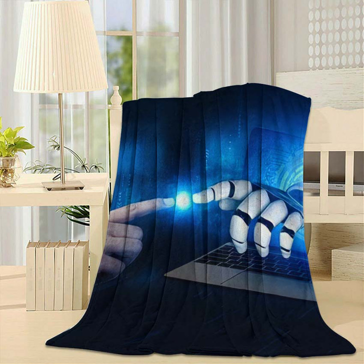 3D Rendering Artificial Intelligence Ai Research 4 - Creation of Adam Throw Blanket