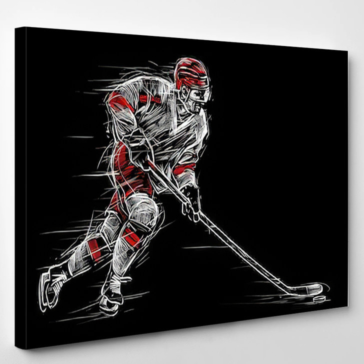 Ice Hockey Player On A Black Background - Sports And Recreation Canvas Art Print
