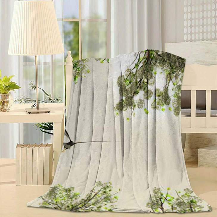 3D Illustration Eagle Flying Among Flowers - Eagle Animals Throw Blanket