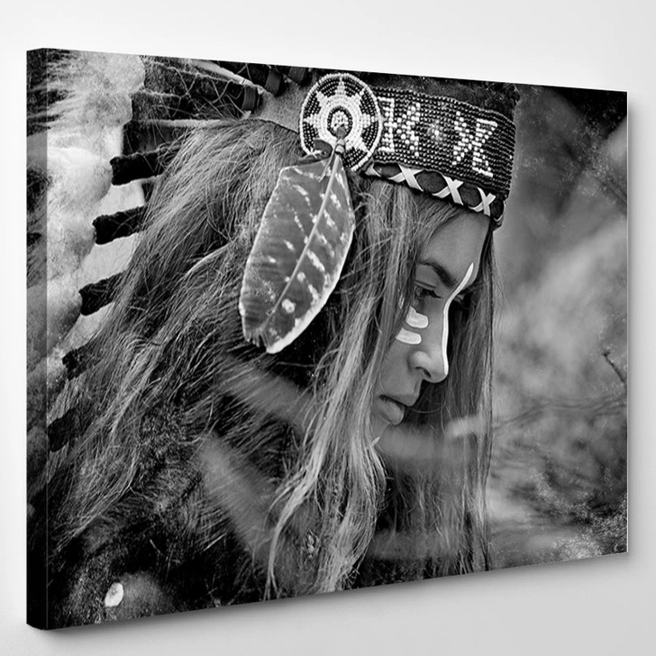 Indian Woman Hunter Black And White Portrait - Abstrast Canvas Art Print